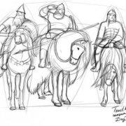 Как нарисовать Илью Муромца на коне ребенку   рисунки (7)