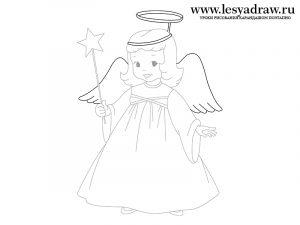Как нарисовать ангела поэтапно карандашом для детей   рисунки (22)