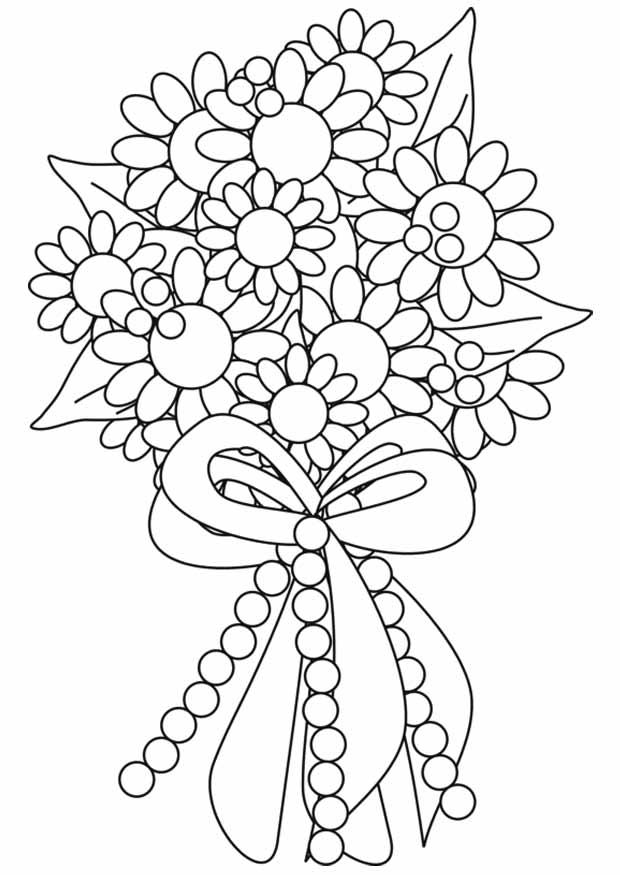 Открытки раскраски с днем рождения цветы распечатать