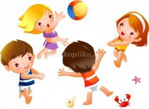 Картинка играют дети в мяч на улице 022