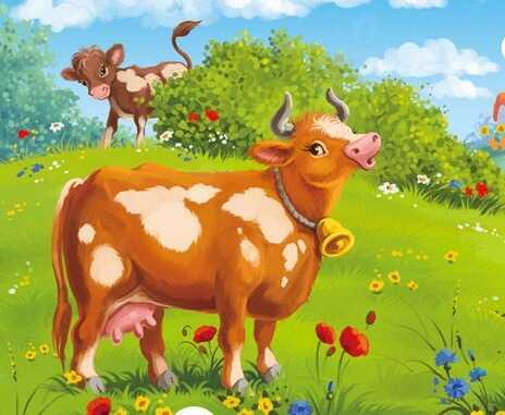 Картинка корова с теленком для детского сада - подборка