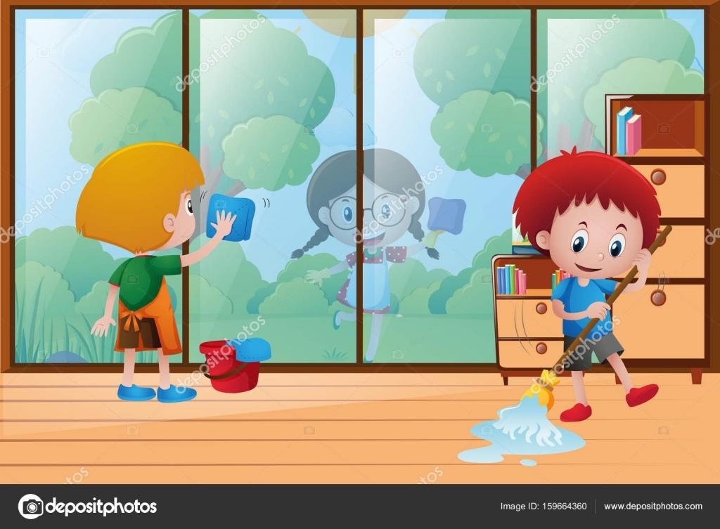 Картинка уборка в доме для детей 023