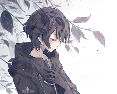 Картинки аниме грустные на аву для девушек003