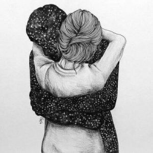 Картинки девушка и парень обнимаются   нарисованные карандашом (20)