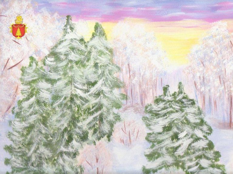 Картинки зимнего леса нарисовать