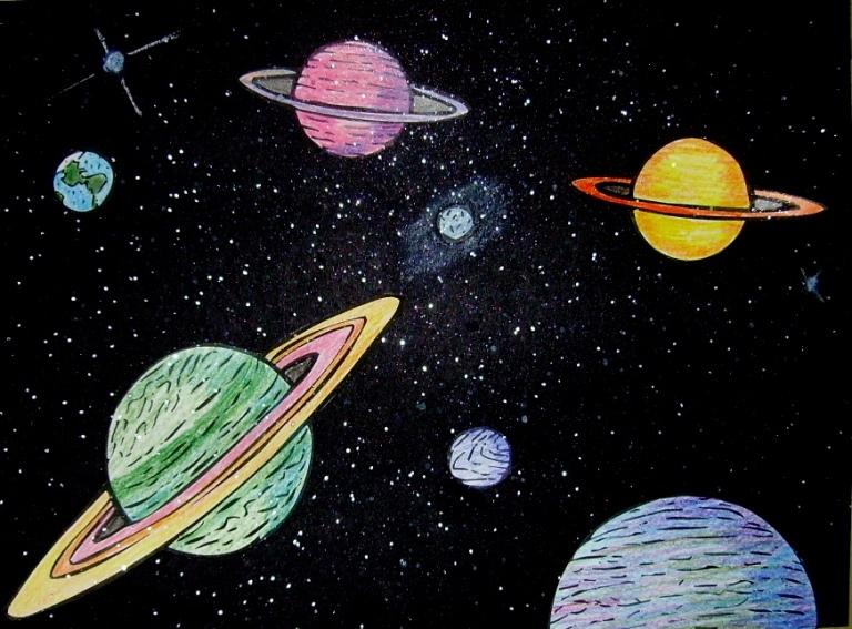 Картинки с космосом и звездами и планетами для срисовки
