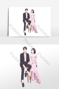 Картинки жениха и невесты рисованные023