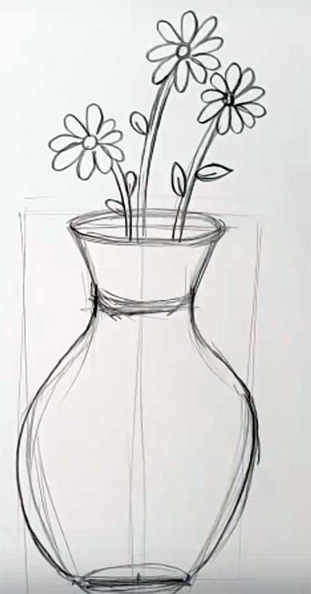 Рисунки цветы в вазе для срисовки