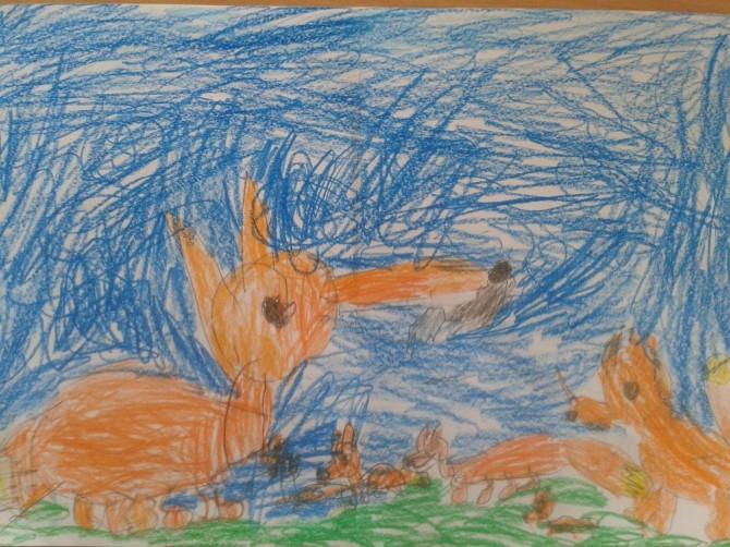 Картинки лиса с лисятами для детского сада026
