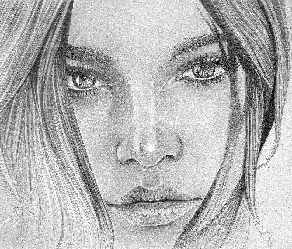 Срисовать девушку карандашом картинки