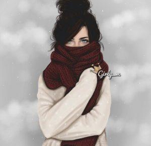 Картинки нарисованные зима и девушка 027