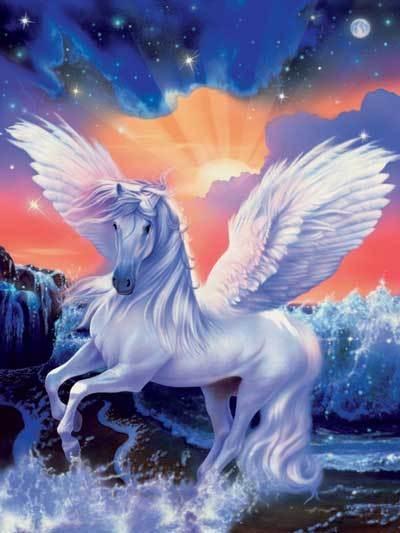 Картинки про лошадей с крыльями и рогом012