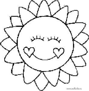 Картинки раскраска солнышко для детей 027