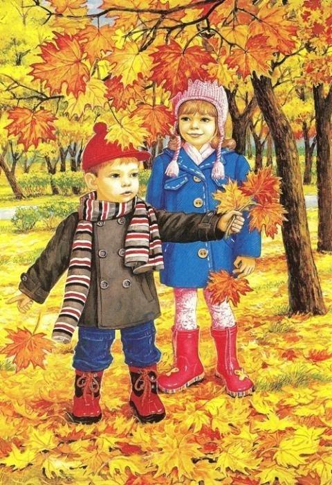 Картинки с детьми про осень 006