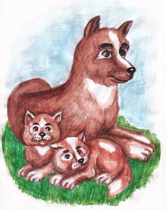 картинка щенок с мамой сказочная все узники страдали