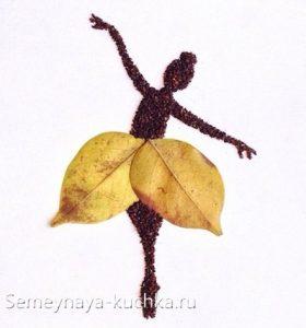 Композиция из листьев карандашом   картинки 027