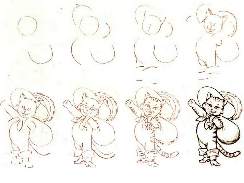 два кот в сапогах картинки карандашом как нарисовать картинке