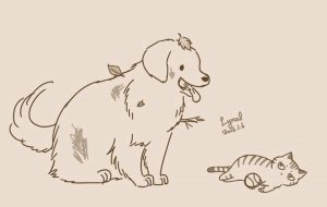 Кот и собака рисунки и картинки 029