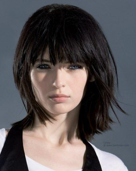 Красивые девушки с черными волосами и с челкой   фото (27)