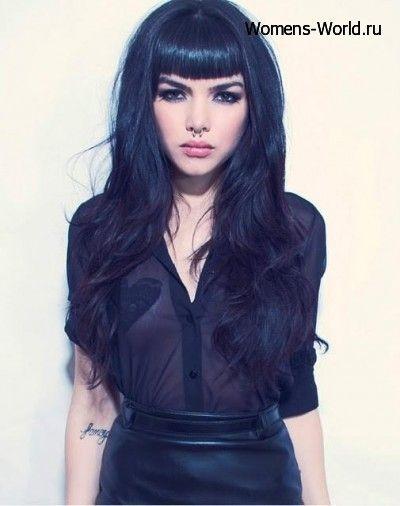 Красивые девушки с черными волосами и с челкой   фото (5)