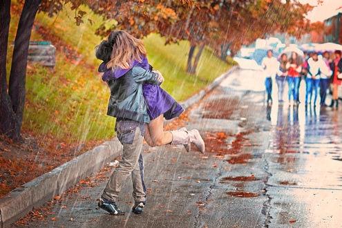 Красивые картинки пары влюбленные осенью 018