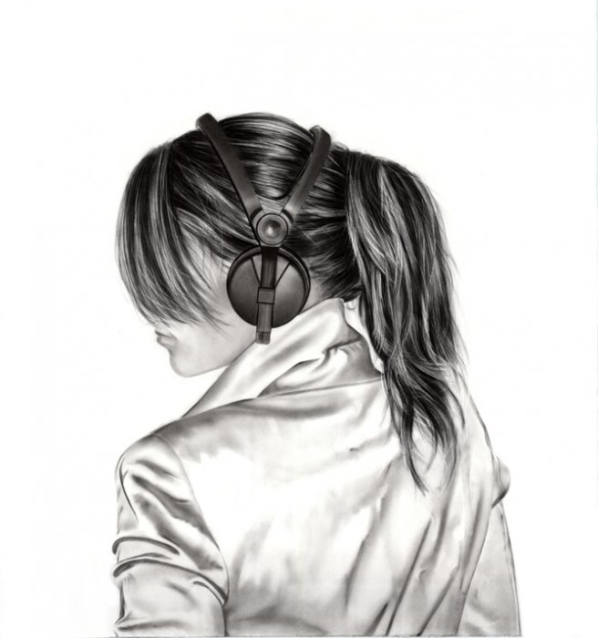 Красивые нарисованные картинки девушка спиной025