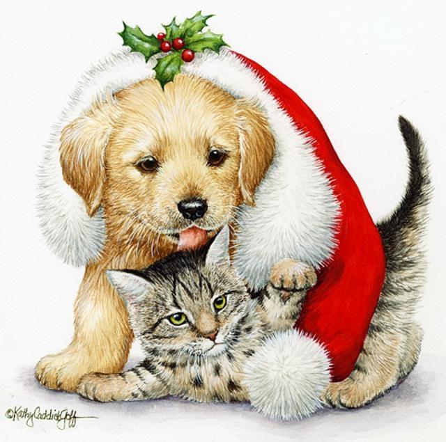 Новогодняя открытка с собачками
