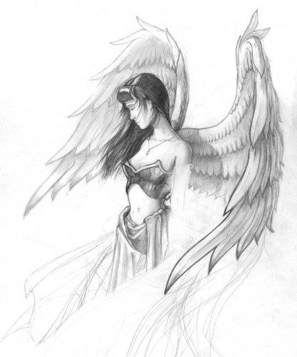 Красивые рисунки для срисовки ангелы 001