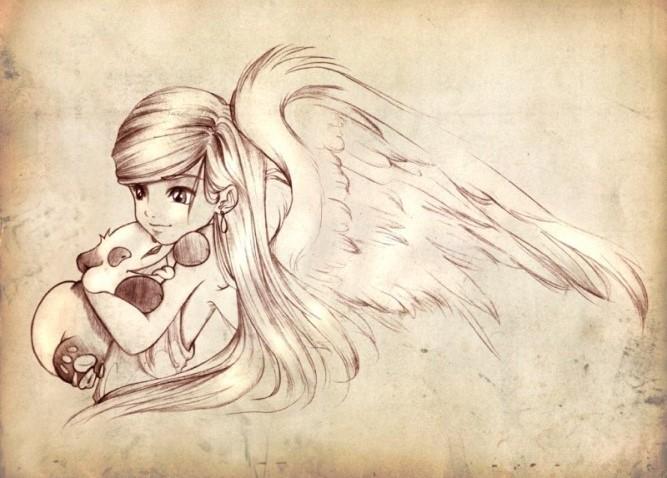 Красивые рисунки для срисовки ангелы 003