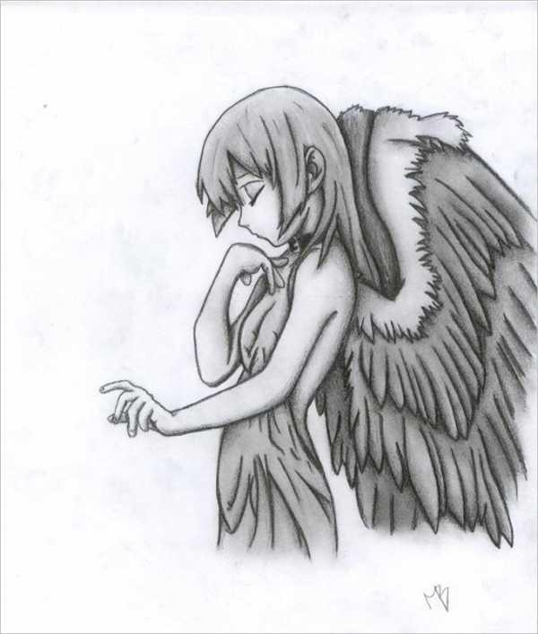 Красивые рисунки для срисовки ангелы 007
