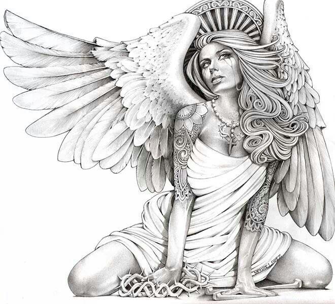 Красивые рисунки для срисовки ангелы 015