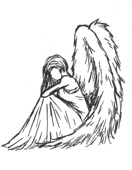 Красивые рисунки для срисовки ангелы 017