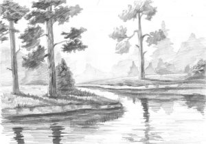 Легкие пейзажи для срисовки карандашом 028
