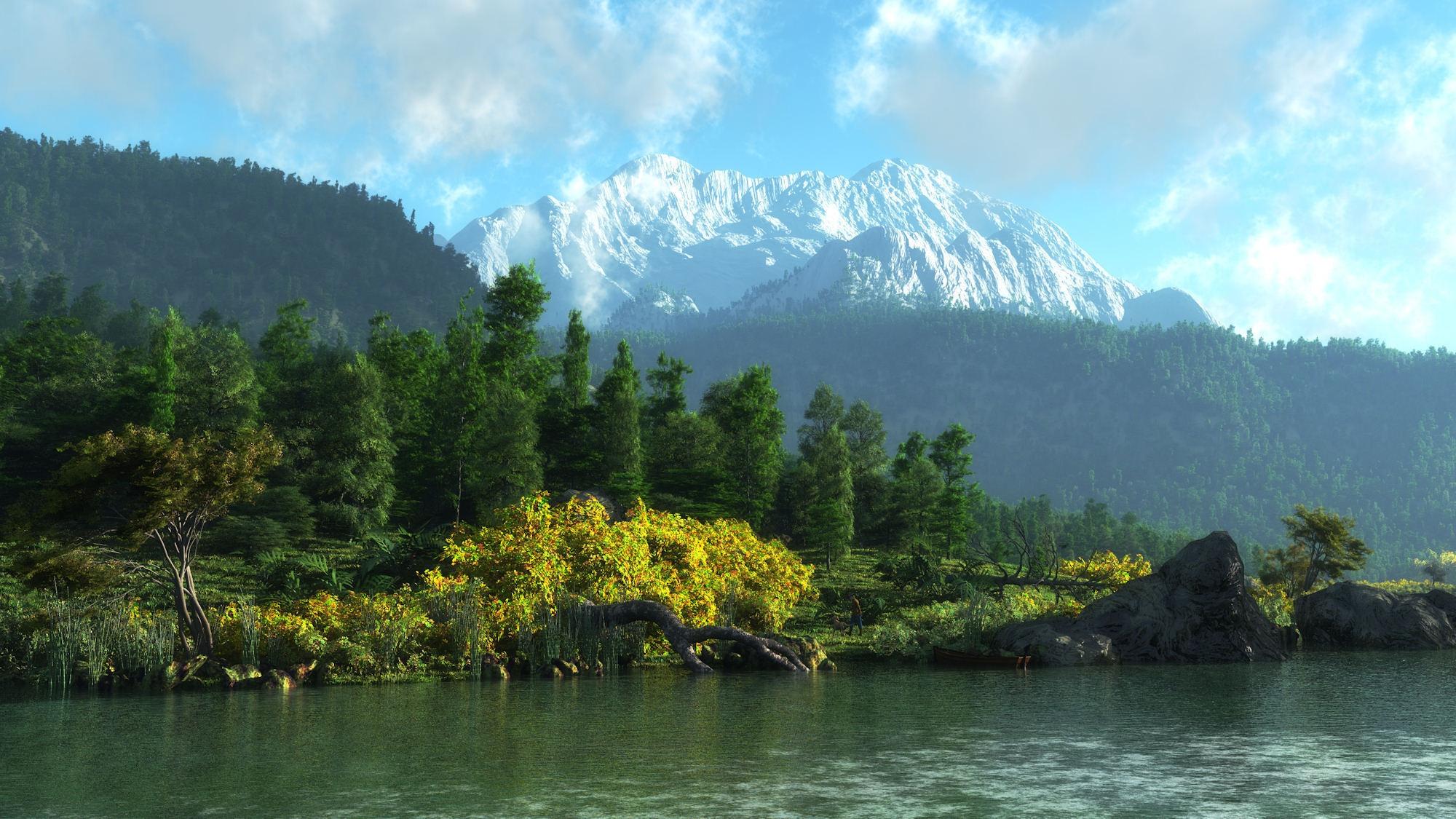 Лес горы и река картинки и обои (3)