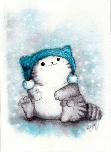 Лучшие картинки с нарисованными котиками 027