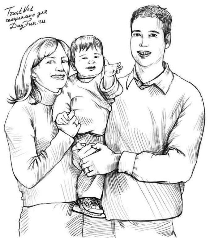Мамы и папы рисунок для детей 027