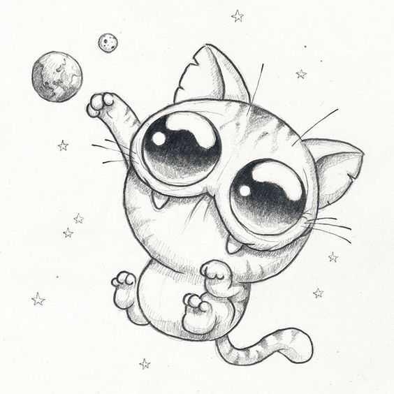 Милые картинки для срисовки котята 014