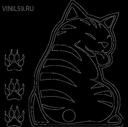 Наклейка на заднее стекло и дворник кот017