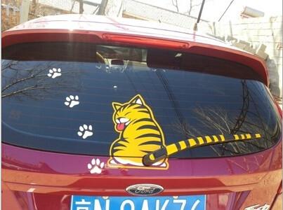 Наклейка на заднее стекло и дворник кот019