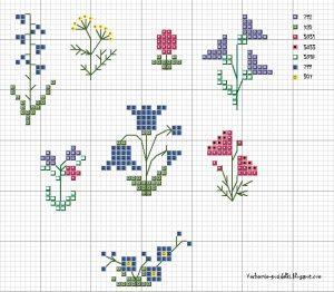 Небольшие схемы вышивки крестом цветы   картинки 026