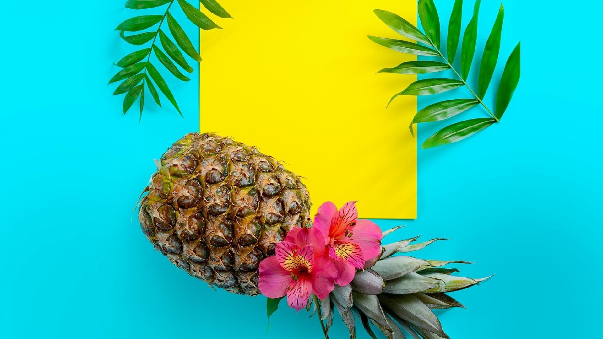 Обои на рабочий стол ананас на голубом фоне