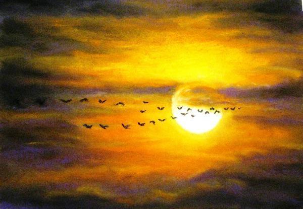 Сентября рождество, картинки птицы улетают на юг осенью рисованные