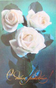 Открытки с Днем Рождения с белыми розами   подборка (40)