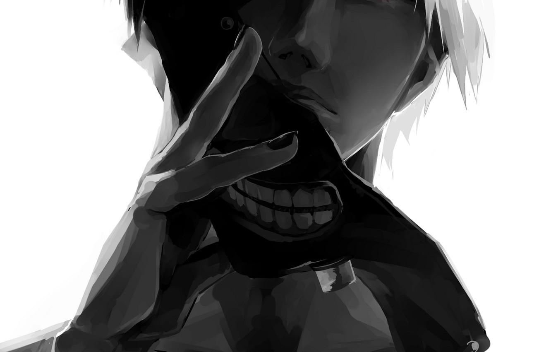 Парень и девушка аниме черно белые арты (1)