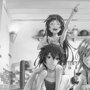 Парень и девушка аниме черно белые арты (12)