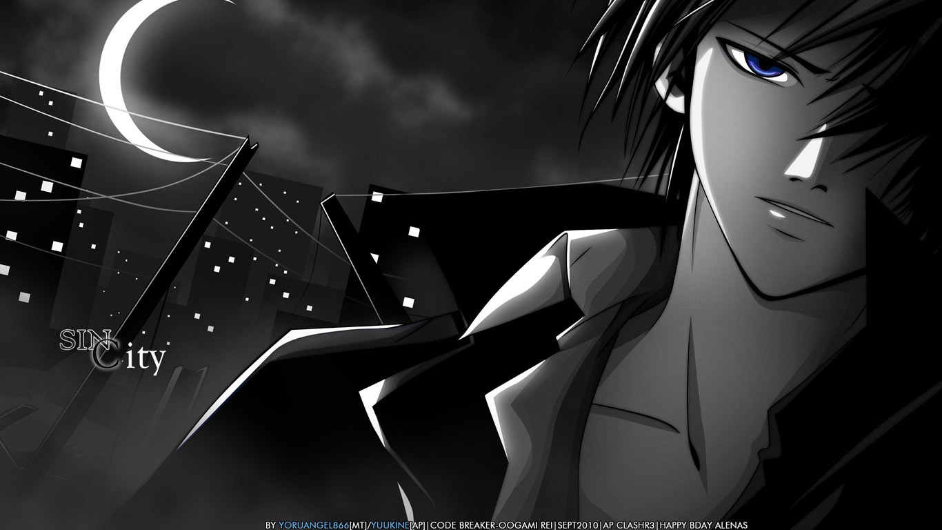 Парень и девушка аниме черно белые арты (17)