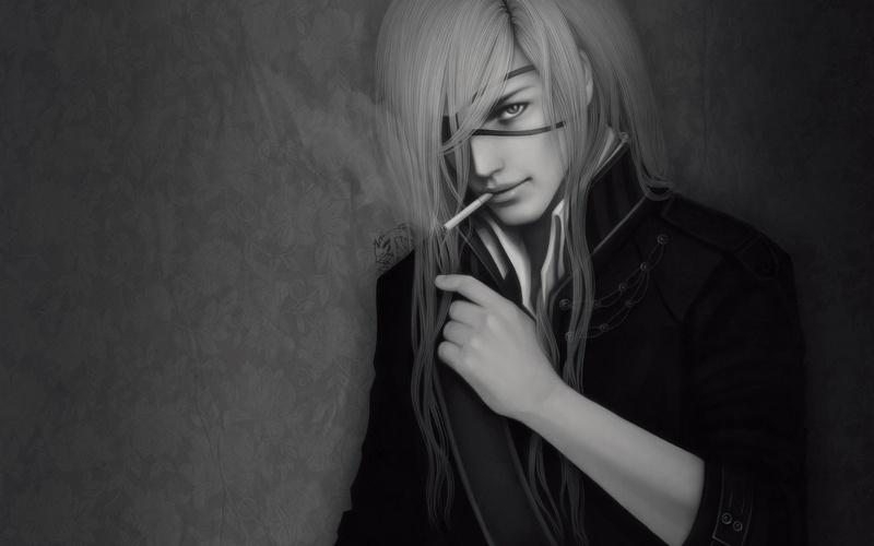 Парень и девушка аниме черно белые арты (18)