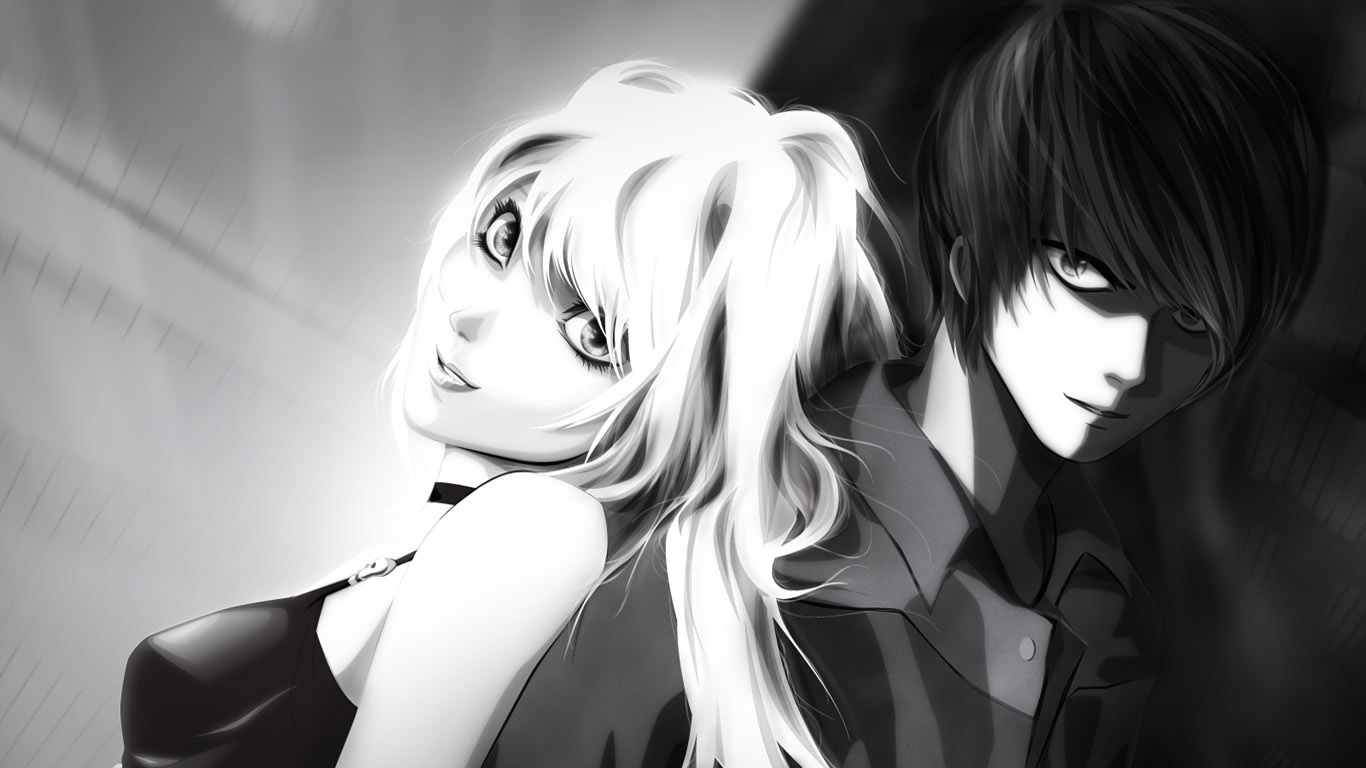 Парень и девушка аниме черно белые арты (2)