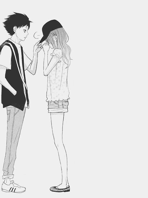 Парень и девушка аниме черно белые арты (26)