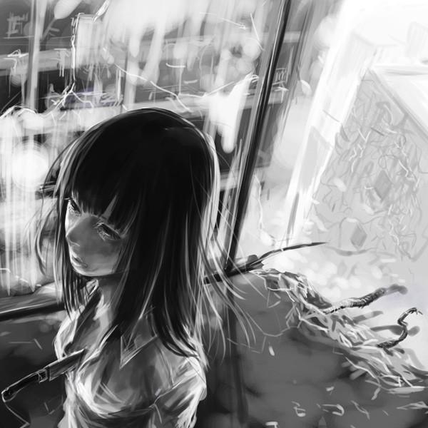 Парень и девушка аниме черно белые арты (29)